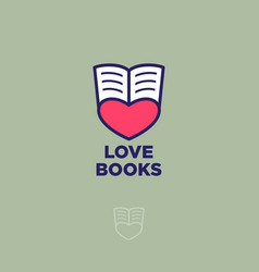 logo love books heart pages vector image