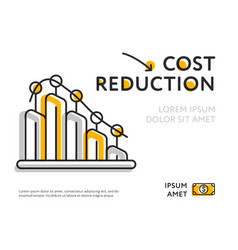 Lowering infographic chart showing cost reduction vector