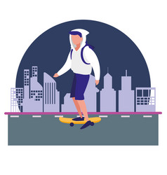 man with skateboard in the city vector image