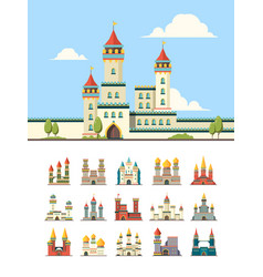 Medieval castles old palazzo building hill towers vector