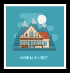 Mountain lodge house landscape vector