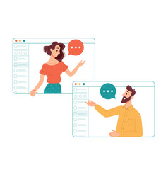 online communication using video calls and apps vector image