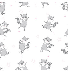 pattern with baraccoon and hearts lovely cute vector image