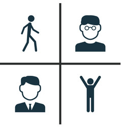 person icons set collection of work man vector image