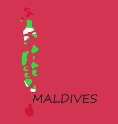 Republic of maldives flag asia world map vector