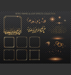 Retro frames and light effects collection copper vector