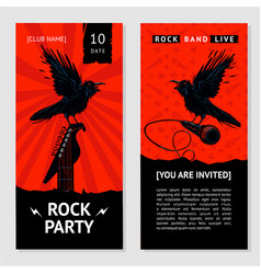 Rock music flyer concert invitation with bird vector