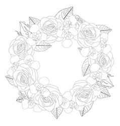Rose and iris flower wreath outline vector