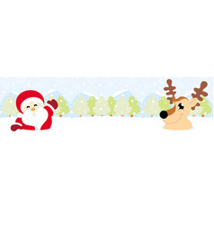 Santa claus and reindeer on snow with snowy vector