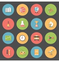 School flat icons set vector image