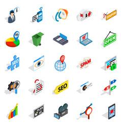 seo icons set isometric style vector image