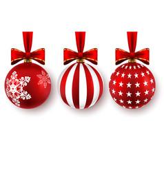 set beautiful christmas balls with bows vector image