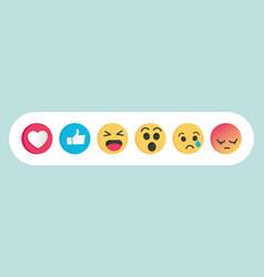 set of emoticon social media reactions vector image