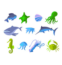 set of flat icons of aquatic animals vector image