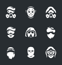 set of halloween costume icons vector image