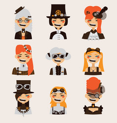 set with lovely smiling steampunk girls vector image