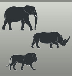 silhouettes savannah animals vector image