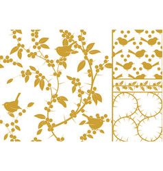 sloe and birds a set of three golden seamless vector image