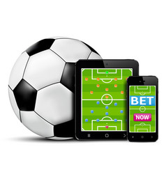 smart phone and tablet with football field vector image