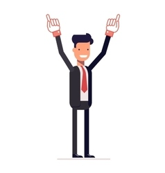 Smiling businessman or manager shows two hands up vector image