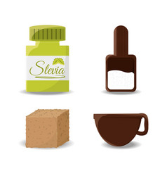 stevia natural sweetener leaves and differents vector image