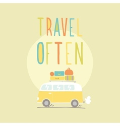 Travel often Van with a lot of luggage vector image