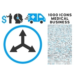 Triple Arrows Icon with 1000 Medical Business vector image