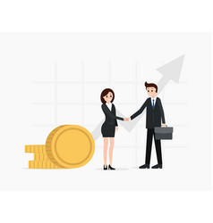 two business partners shaking hands finance vector image
