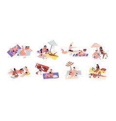 Various sunbathing people on summer beach vacation vector