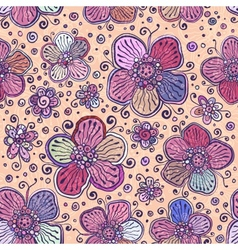Vintage colors flowers seamless pattern vector image