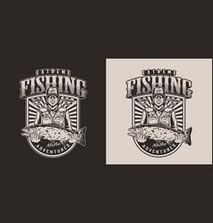 Vintage fishing print vector