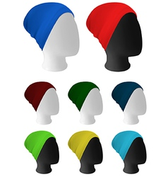 Warm knitted hat on mannequin head template vector