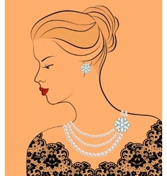 Woman with pearl jewelry vector