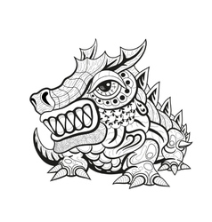 Zentangle tribal dragon designs vector