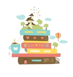 Fairytale concept with book and medieval castle vector image