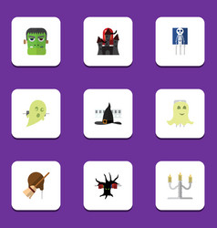 flat icon festival set of terrible halloween vector image vector image