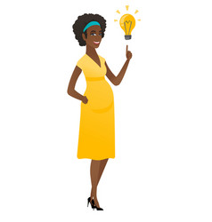 Pregnant woman pointing at business idea bulb vector