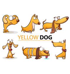 set yellow dog 2018 cartoon vector image vector image