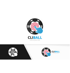 soccer and click logo combination ball and vector image