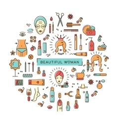 Beauty set line icons art Beautiful woman vector image vector image