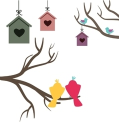 Card with nesting boxes and birds vector image