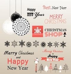 Christmas greetings set vector