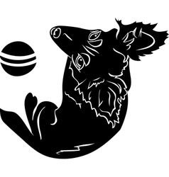 Cute dog with a ball black stencil first variant vector image vector image