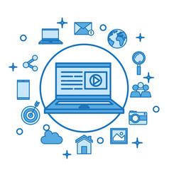 laptop computer screen play video button vector image vector image