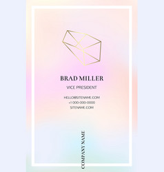 vaporwave business card with a gold crystal logo vector image