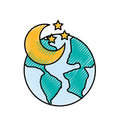 World planet earth with moon vector