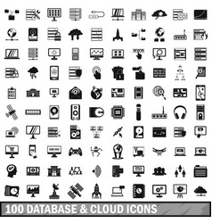 100 database and cloud icons set simple style vector image vector image