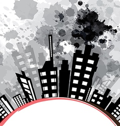 abstract urban design with black ink splash vector image vector image