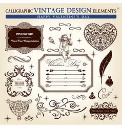 calligraphic elements vintage ornament set happy v vector image vector image