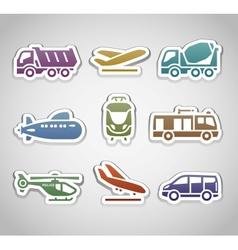 flat retro color stickers - set thirteen vector image